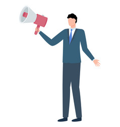 man in suit loudspeaker isolated cartoon character vector image