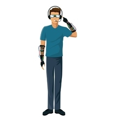 Man vr experiencing reality glasses wired glove vector