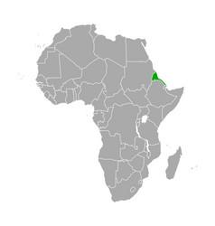 map eritrea in africa vector image