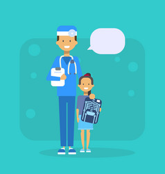 medical doctor with child holding x ray hospital vector image