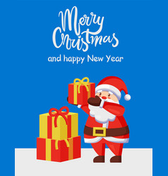 Merry xmas happy new year poster santa gift box vector