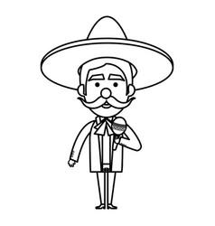 mexican mariachi with maracas avatar character vector image vector image