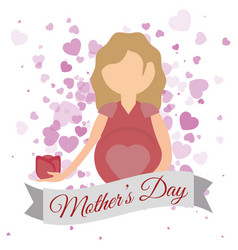 Mothers day mom with flower and heart invitation vector