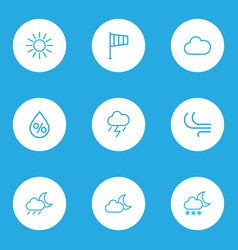 Nature outlines set collection of cloud drop vector