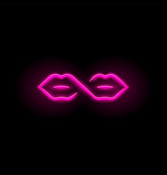 Neon sign infinity symbol and lips two mouths vector