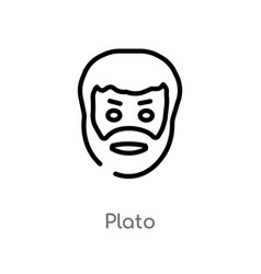 Outline plato icon isolated black simple line vector