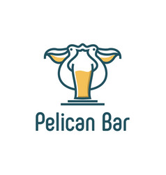 Pelican bar animal bird outdoor cafe restaurant vector