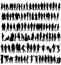 people black silhouette man and woman vector image