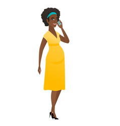 Pregnant woman talking on a mobile phone vector