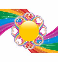 rainbow swirl and sun vector image