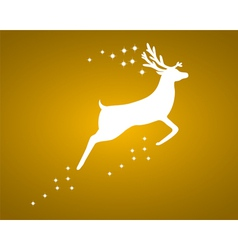 Reindeer with stars on gold background vector image
