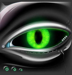 Robot face with cat green eyes vector