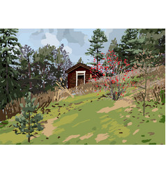 Scandinavian landscape with traditional wooden vector