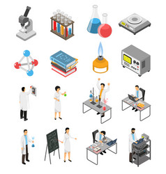 Scientific laboratory elements set vector