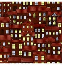 seamless pattern european night town vector image