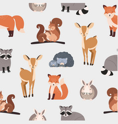 seamless pattern with different cute cartoon vector image