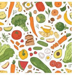 seamless pattern with healthy food grocery vector image