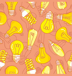 Seamless pattern with light bulbs hand drawn vector