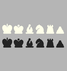 set chess pieces isolated vector image