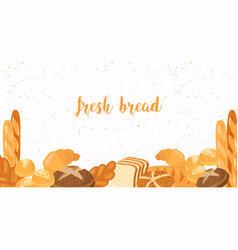 Set food bread bread buns croissant loaf vector