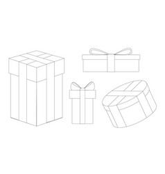 set of festive new year gifts line drawing vector image