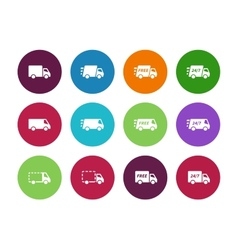 Shopping Trucks circle icons on white background vector image