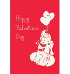 silhouette of loughing cupid with bow and arrow vector image