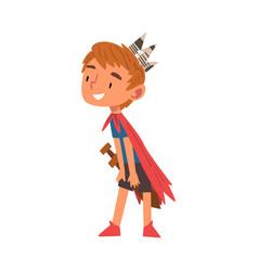 Smiling boy wearing prince costume cute kid vector