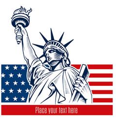 Statue liberty nyc usa flag and symbol vector