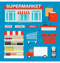 Supermarket Building and Interior with Products vector