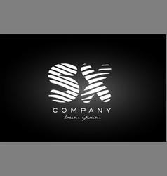 sx s x letter alphabet logo black white icon vector image vector image