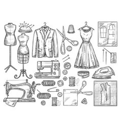 tailoring and dressmaking sketch icons vector image