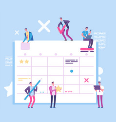 Task planning board people with big scrum process vector
