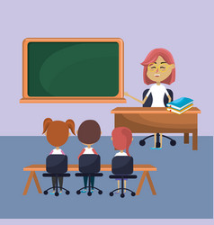 Teacher woman educated the students vector