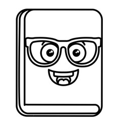 text book with glasses kawaii character vector image