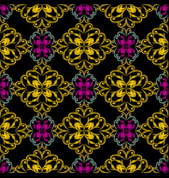 Textured embroidery damask seamless pattern vector