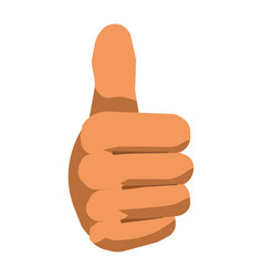 Thumb up hand gesture sign flat isolated vector