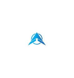 triangle arrow up business company logo vector image