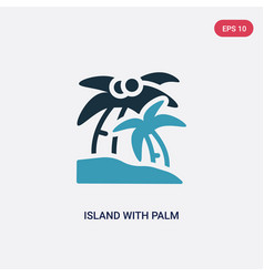 two color island with palm trees icon from summer vector image