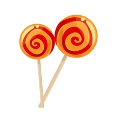 Two red and yellow striped lollypops vector image