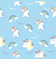 unicorn with rainbows in color pastel pattern vector image