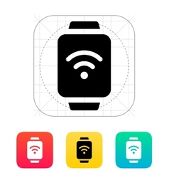 Wireless payment on smart watch icon vector image