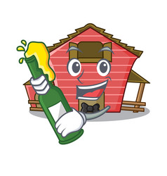With beer red storage barn isolated on mascot vector