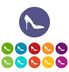 Women shoe with high heels set icons vector