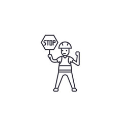 worker with a stop sign line icon sign vector image