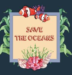 Wreath design with clown fish and kelp creative vector