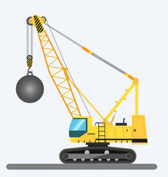 Wrecking ball crane heavy machinery vector