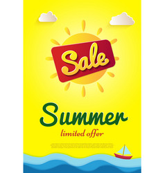 yellow poster summer sale limited offer big sun vector image