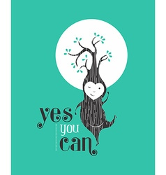 Yes you can motivation quote greeting card elf vector image