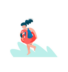 young woman with inflatable ring girl doing vector image